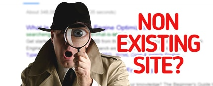 surprised detective with words Non Existing Site