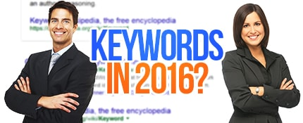 man and woman with words keywords in 2016 at the middle